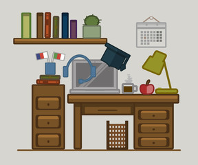 Vector drawn poster of home office space. Language learning. Table, laptop, lamp, calendar, coffee, books, cacti, flags, bookshelf