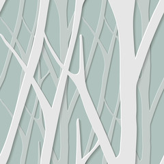 seamless trendy pattern with birch trees. Floral modern 3D wallpaper. illustration