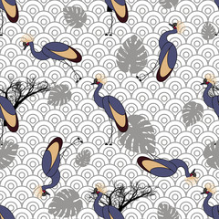 Seamless pattern with cranes.