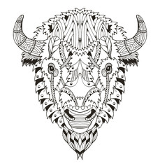 American buffalo head zentangle stylized, vector, illustration, pattern. Anti stress coloring book for adults and kids.