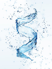 Water splash in the form of spiral blue color