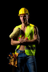 fit shirtless painter worker with tools