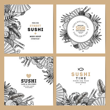 Sushi cafe and restaurant banner collection. Asian food background. Vector illustration