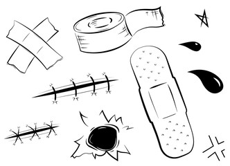 Adhesive bandages set, medical and healthcare. Vector illustration