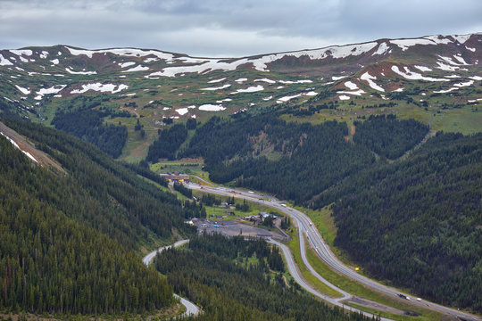 View of Colorado Rockies and I-70 from Loveland Pass