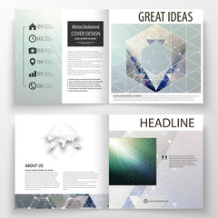 Business templates for square design bi fold brochure, magazine, flyer, booklet. Leaflet cover, vector layout. Chemistry pattern, hexagonal molecule structure. Medicine, science, technology concept.