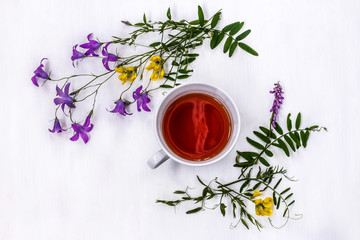 Cup of black tea with wild medicinal flowers on a white background