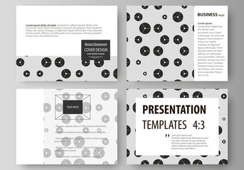 Set of business templates for presentation slides. Abstract vector layouts in flat style. Chemistry pattern, hexagonal design molecule structure, medical DNA research. Geometric colorful background.
