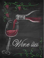 Wine list with wine glass and wine bottle on chalkboard background.