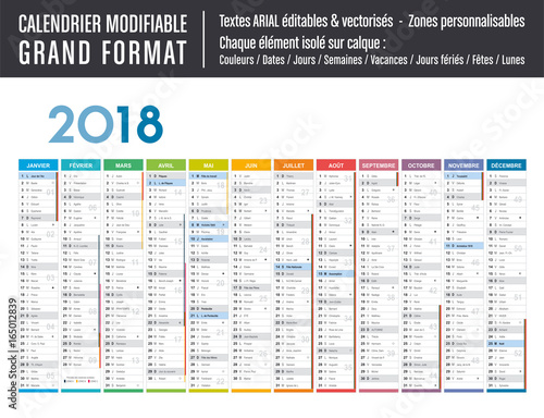 calendrier 2018 modifiable