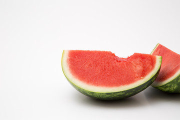 watermelon cut sliced ripe juicy bite isolated on white