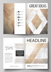 The vector illustration of the editable layout of two A4 format modern cover mockups design templates for brochure, magazine, flyer. Global network connections, technology background with world map.