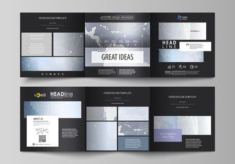 The black colored minimalistic vector illustration of the editable layout. Two creative covers design templates for square brochure. Abstract futuristic network shapes. High tech background.