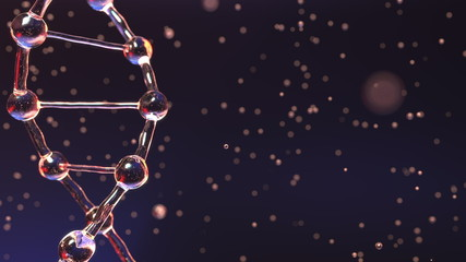 DNA molecule and floating droplets, shallow focus. Biochemistry, medical test or genetic research concepts. 3D rendering