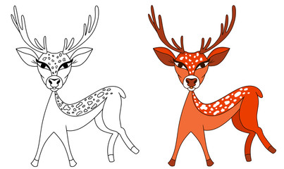 Deer  vector cartoon colored illustration sketch animal bambi spotted
