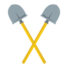 Crossed Shovels flat cartoon icon. Shovels vector illustration for design and web isolated on white background. Crossed Shovels vector object for labels, logos and advertising