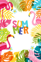 Vector banner, poster, frame with flamingo and multicolor palm leaves. Hand drawn doodle illustration. Summer tropical background.