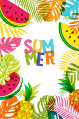 Vector banner, poster, frame with pineapple, watermelon and multicolor palm leaves. Hand drawn doodle illustration. Summer tropical background.