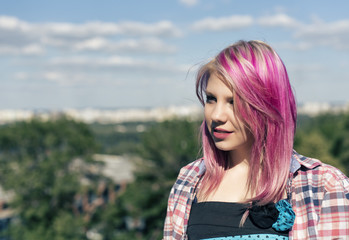 Pretty girl with pink hair