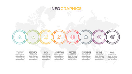 Business infographics. Presentation with 8 options, circles. Thin line vector template.
