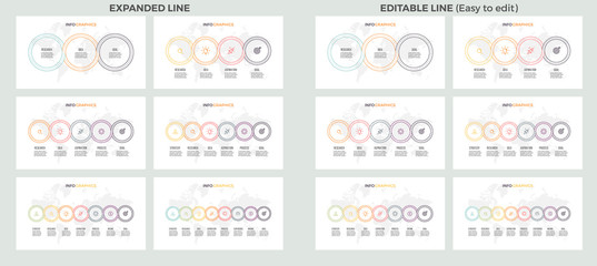 Business presentations. Large set of vector infographic templates with 3, 4, 5, 6, 7, 8 steps, options. Outline connected circles. Easy to edit.