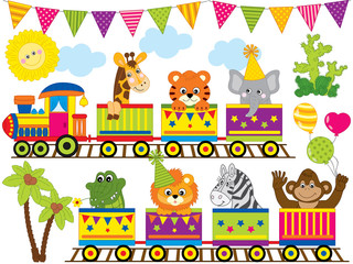 Vector Safari Animals Travelling in the Train.