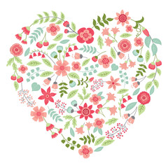Vector Floral Heart in Pastel Colors.