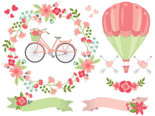 Vector Romantic Pastel Floral Set.