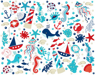 Vector Nautical Set with Various Sea Elements.