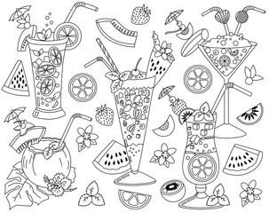 Vector Black and White Cocktails Set with Tropical Fruits. Cocktails Vector Illustration.