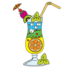 Vector Cocktail with Tropical Fruits. Cocktail Vector Illustration.