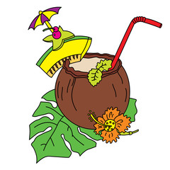 Vector Coconut Cocktail with Tropical Fruits. Coconut Cocktail Vector Illustration.