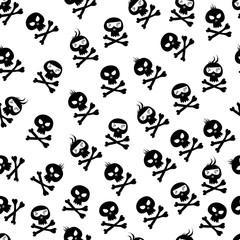 Comic skull and crossbones pattern. Halloween design element. Vector illustration.