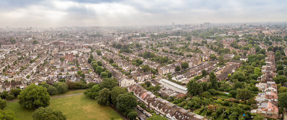 Aerial view of London suburb