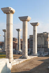 Roman square with stone columns row in ephesus Archaeological site in turkey