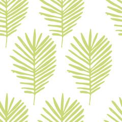 Tropical background with green hand drawn palm leaves on white. Tropic seamless pattern. Vector.