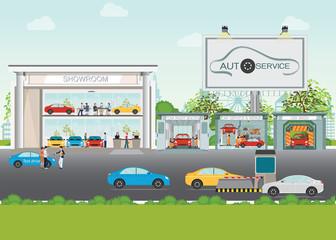 Set of car service station.