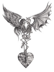 Art surreal angel skull and devil skull make love.Hand pencil drawing on paper.