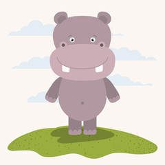 white background with color scene cute hippopotamus animal in grass vector illustration
