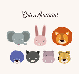 white background with set color face cute animals vector illustration