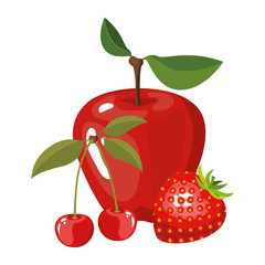 white background of realistic colorful fruits apple cherries and strawberry vector illustration