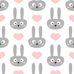 Head of funny rabbit with big eyes. Cute hearts. Seamless pattern for children.