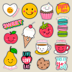 Set of fashion patches, cute colorful badges, fun cartoon food icons design vector.
