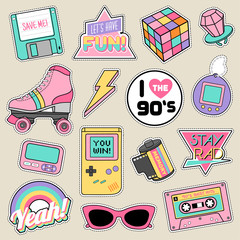 Set of fashion patches, cute pastel badges, fun icons vector