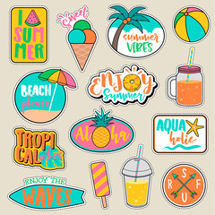 Set of fashion patches, cute colorful badges, fun cartoon icons vector