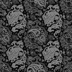 Paisley Beautiful silver seamless background.