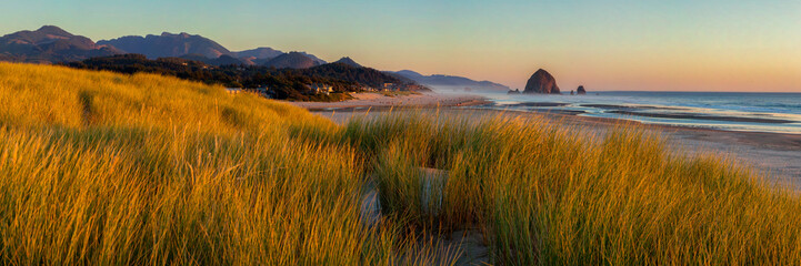 Printed kitchen splashbacks Coast Looking south to Cannon Beach and Haystack Rock in Cannon Beach, Oregon