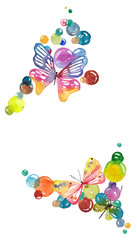 Watercolor background with butterflies and bubbles