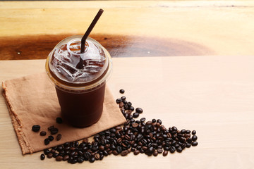 Wall Murals Coffee beans Ice americano , Black coffee and coffee beans