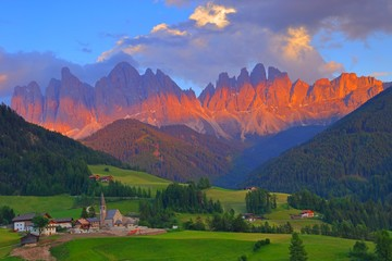 Santa Magdalena village in front of Dolomites Group, Val di Funes, Italy,  Wall mural